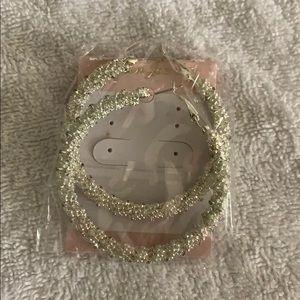 Silver tone beaded hoop earrings